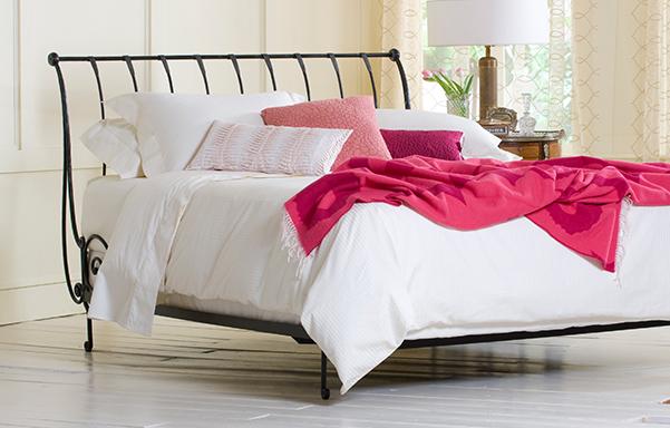 Paris queen open-foot bed in Antique Black