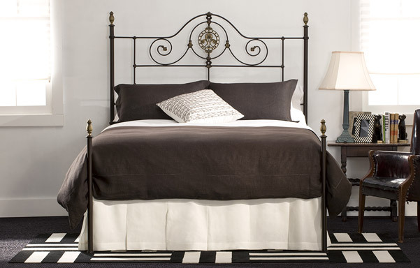Alexandria Queen bed in French Gold with Antique Brass