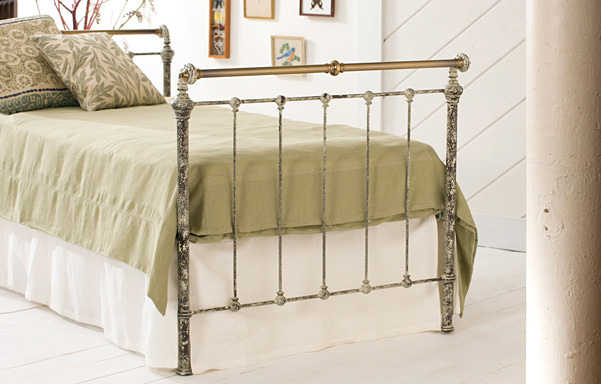 Iron & Brass Sleigh Daybed in Vintage White with Antique Brass