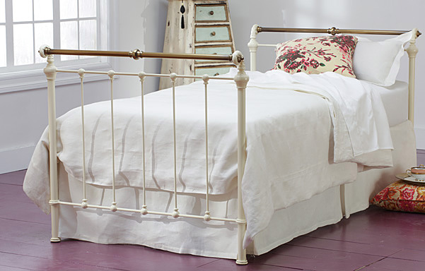 Iron & Brass Sleigh Daybed in Antique White with Antique Brass