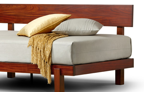 Alana Daybed detail in Tiger Mahogany