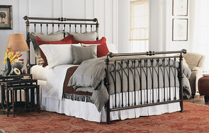 Solid Brass Queen size High-Foot Sleigh bed in Antique Brass finish