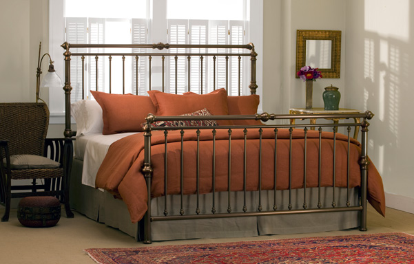 Solid Brass King High-Foot Sleigh Bed in Antique Brass finish