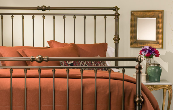 Solid Brass High-Foot Sleigh Bed in Antique Brass finish