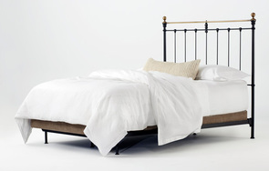 Newfield Queen Open-foot bed in Wrought Iron with Antique Brass