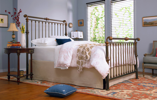 Solid Brass Sleigh queen bed in antique brass