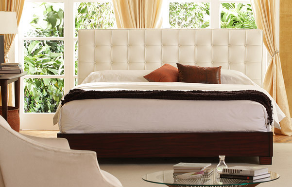 Newhouse king bed – ultra white leather