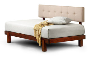 Alana daybed in tiger mahogany with linen upholstered backrest
