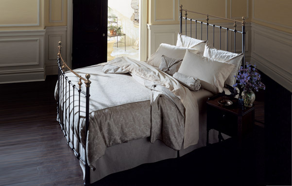 Charleston queen bed antique brass and iron