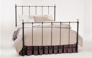 Craine wrought iron and brass four poster bed