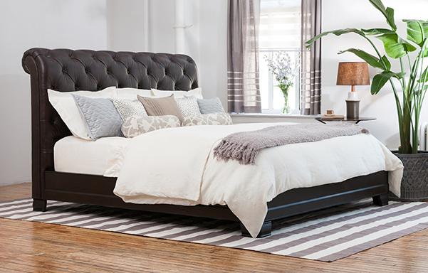 Hampton king bed – vintage chestnut leather