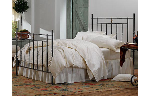 Umbria hand forged iron bed - high footboard