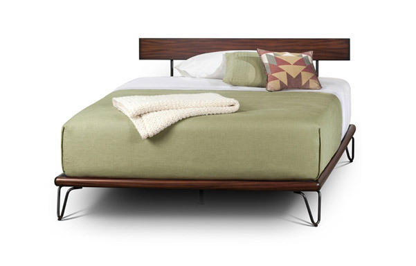 Case queen platform bed- tiger mahogany and forged iron