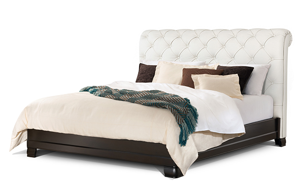 Hampton king bed – ultra white leather