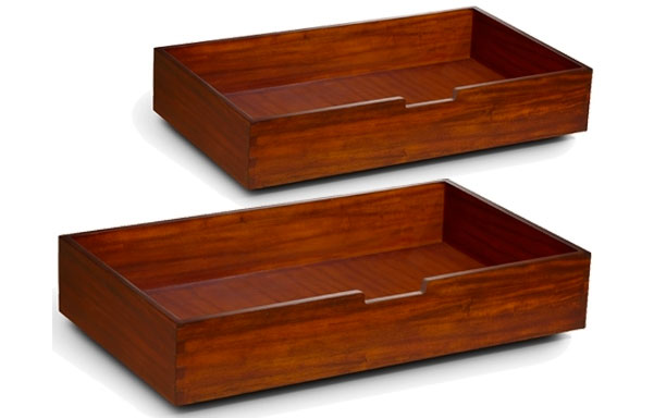 Universal Under Bed Drawers in solid mahogany (sold in pairs)