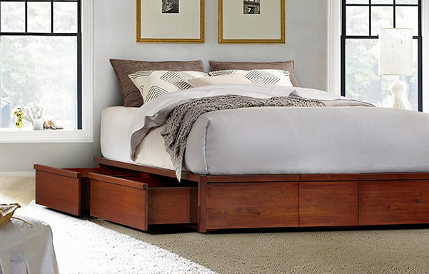 Mahogany Storage Bed Queen Size