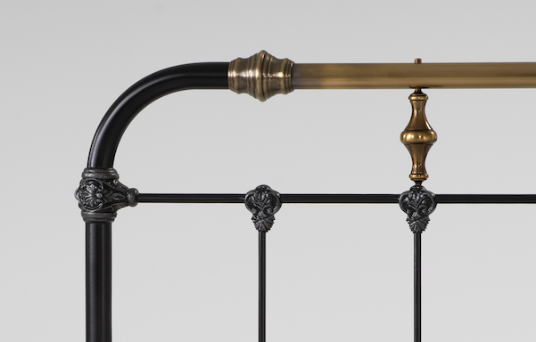 Boston bed antique brass accents