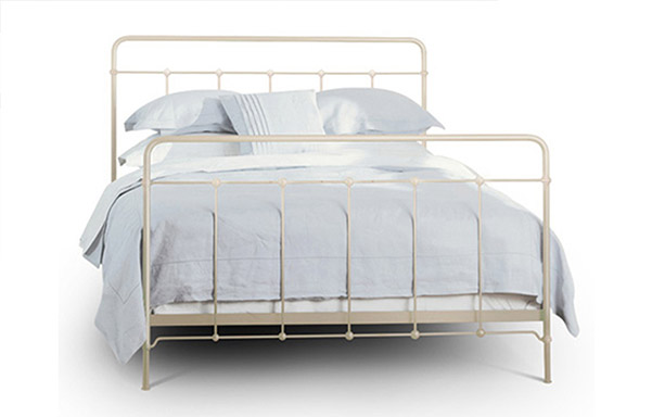 Cottage queen bed antique white iron finish