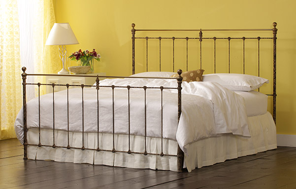 Newfield iron and brass king bed vintage iron