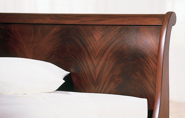 Chambord sleigh bed flame mahogany headboard detail