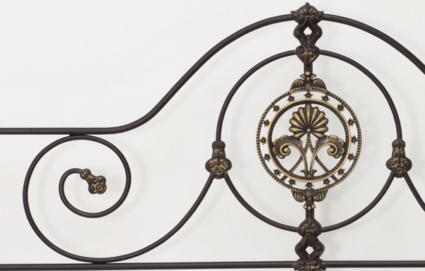 Alexandria bed cast accents and scrollwork