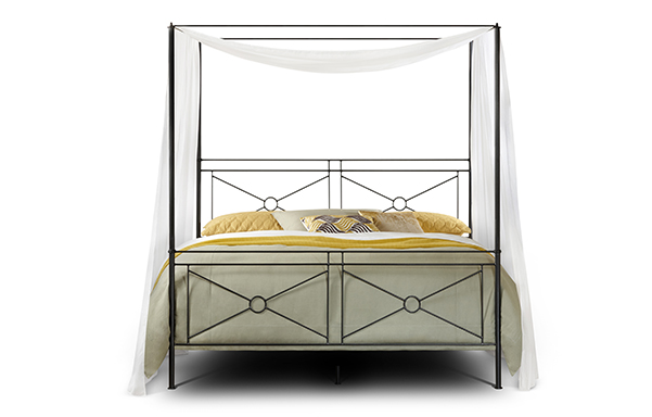 Campaign king canopy bed - high footboard