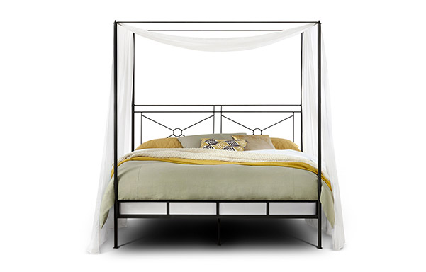 Campaign king canopy bed – open footboard