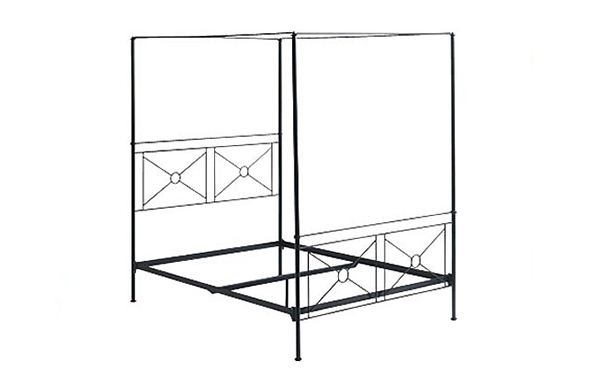 Campaign canopy bed frame details