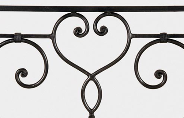 Florentine canopy bed hand forged iron details