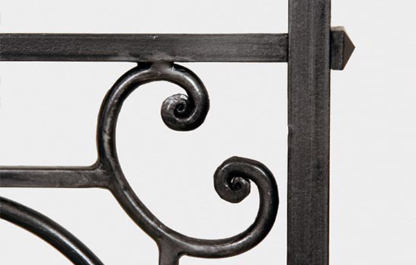 Florentine canopy bed hand forged iron scrollwork
