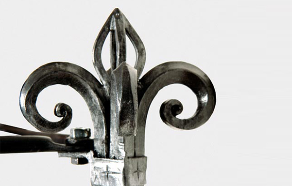 Florentine canopy bed hand forged iron finial