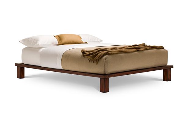 Solide queen platform bed – tiger mahogany