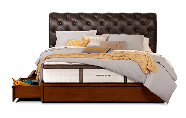 Hampton king bed with storage base – vintage chestnut leather