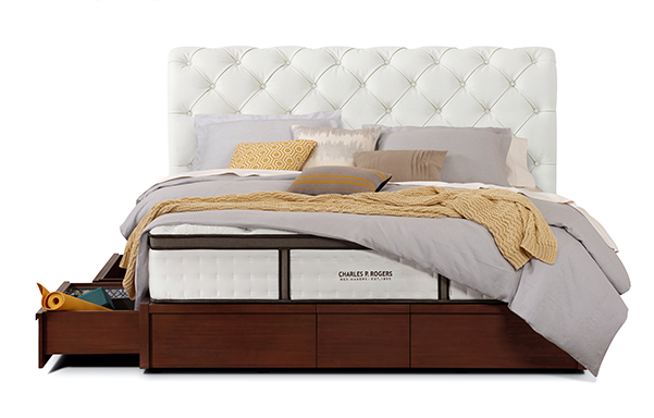 Hampton king bed with storage base – ultra white leather