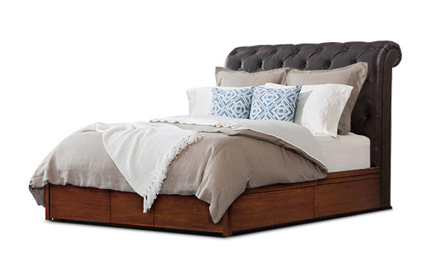 Hampton queen bed with storage base – vintage chestnut leather