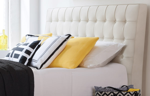 Newhouse king headboard –ultra white leather