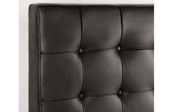 Newhouse bed black leather upholstery detail