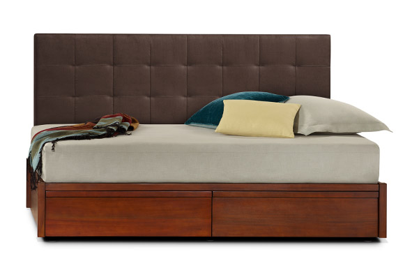 Mahogany storage daybed with dark chocolate micro suede backrest