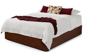 Quad queen bed platform – medium mahogany