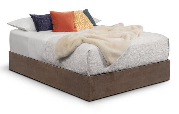 Upholstered Platform Base Queen – brown velvet