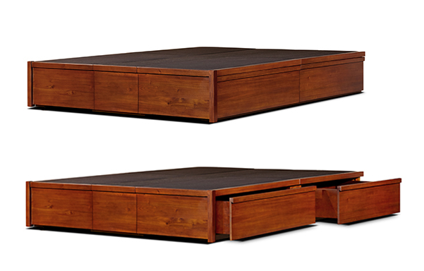 Mahogany storage bed drawer open and closed view