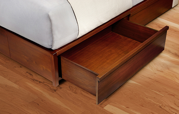 Mahogany storage bed drawer open detail