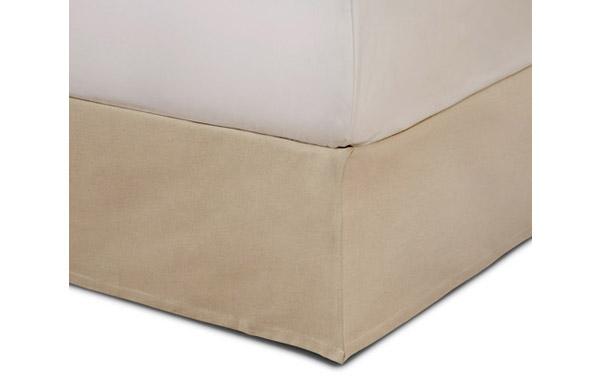 Tailored linen bed skirt closeup