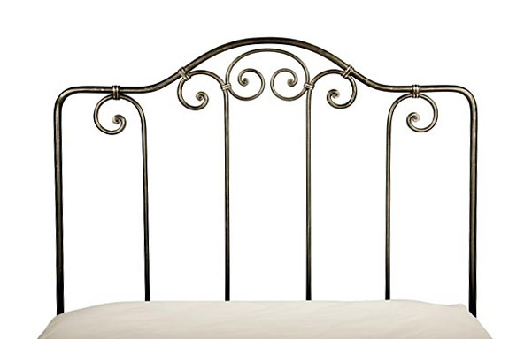Breton trundle bed forged iron headboard detail