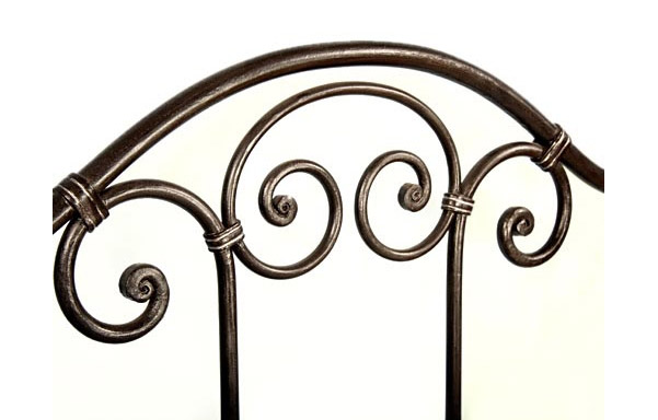 Breton trundle bed forged iron panel detail