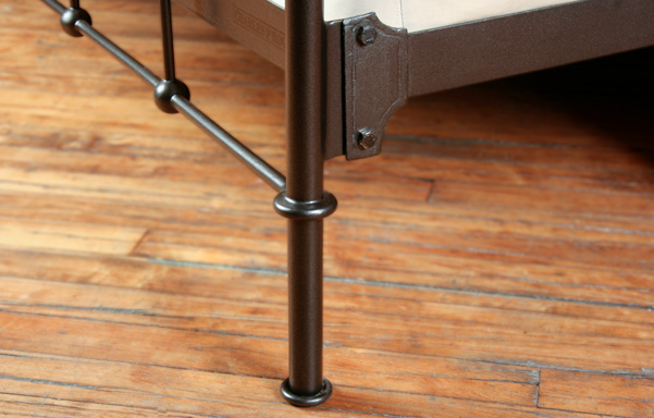 Lloyd bed wrought iron foot and rail detail