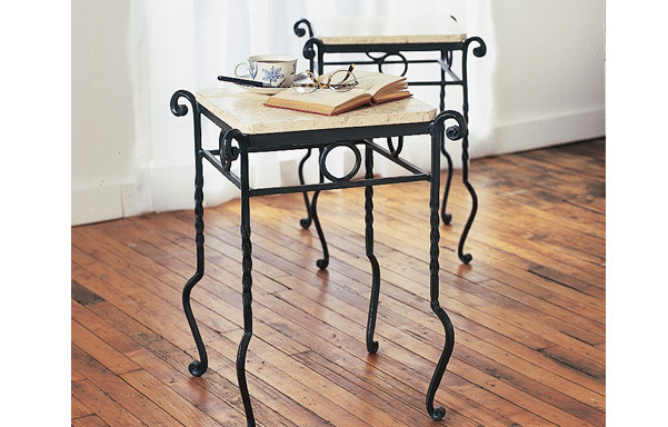 Forged iron table with stone top - pair