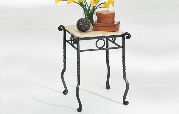 Forged iron table with stone top
