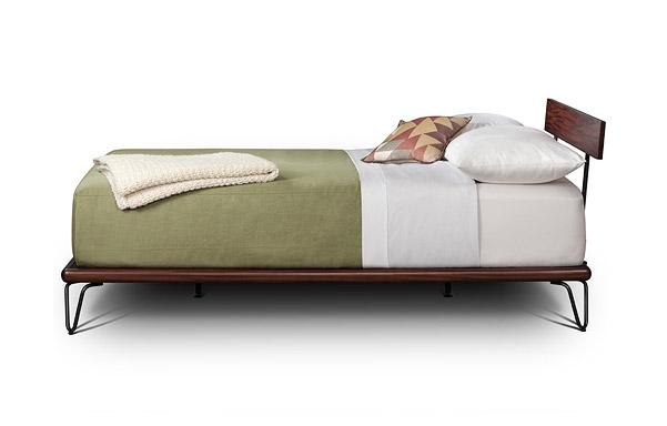 Case queen platform bed side view