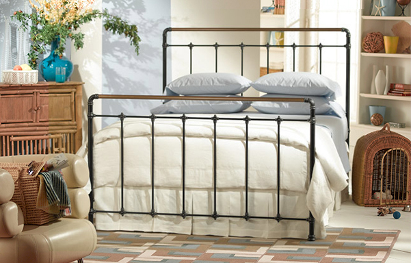 Leighton Queen size bed in Antique black with Antique Brass